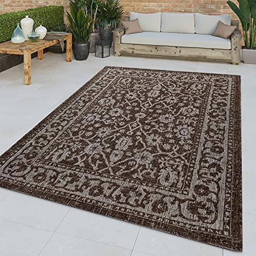 TT Home Tappeto Tessuto Liscio per Interni ed Esterni dal Motivo Orientale con bordature Marrone Moderno, Größe:60x100 cm