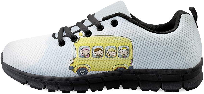 Lace -up Sneeaker Training skor skor skor herr kvinnor pojkar and Girls Happy Smile On School Bus  kundens första rykte först