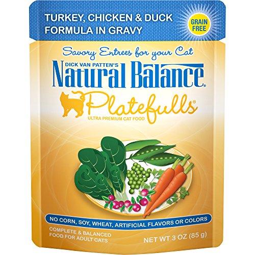 Natural Balance Platefulls Wet Cat Food, Turkey, Chicken & Duck Formula in Gravy, 3 Ounce Pouch (Pack of 24), Grain Free