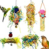 Heyu-Lotus 5 Pack Bird Shredding Toys Bird ParrotsChewing Hanging Toys Parrot Cage Shredder Toys Bird Cage Accessories for Small Parakeets, Cockatiels, Budgies, Conures, Love Birds, Finches