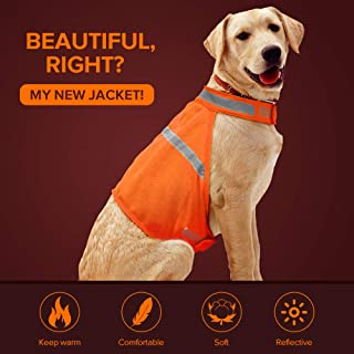 Dog Reflective Vest High Visibility Adjustable Strap Safety Jacket Keep Your Dog be Seen and Safe from Cars & Hunting Accidents