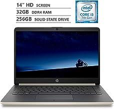 "HP Notebook 14"" HD WLED-Backlit Screen Laptop, Intel Core i3-7100U 2.40GHz Dual-Core Processor, 32GB Memory, 256GB M.2 Sol..."