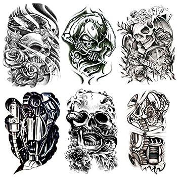 Oottati 6 Pieces Large Leg Black Hollow 3D Mechanical Skull Totem Snake Grim Reaper Sickle Temporary Tattoo