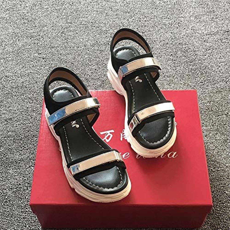 Shukun Sandalen für Damen Retro Sandalen Weiblichen Sommer Neue Persnlichkeit Muffin Dicke Unterseite Fisch Mund Typ Rmische Schuhe