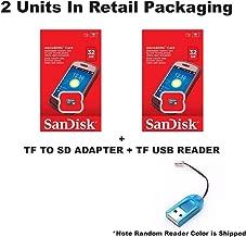 2 PACK - SanDisk 32GB MicroSDHC Memory Flash Card Class 4 Micro SD SDHC SDSDQM-032G Wholesale Lot 32GB x 2 = 64GB + BONUS TF USB Reader