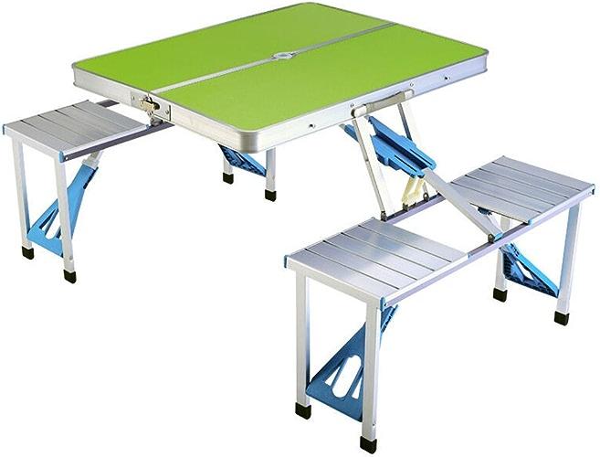 TangMengYun Tableau portatif extérieur Tableau et Chaise intégrés Table résistante d'alliage d'aluminium pour Le Camping de Barbecue (Couleur   vert)