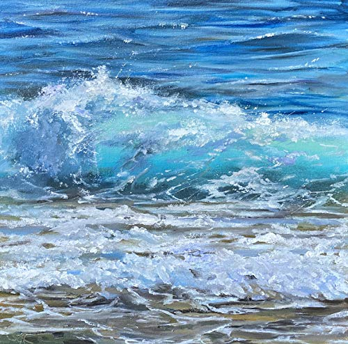 Meerbild mit Wellen Maritim Bild Landschaft Kunst Original Ölmalerei Gemälde 30x30 cm
