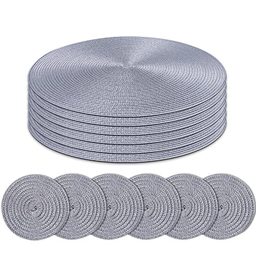 Homcomodar Round Placemats and Coasters Set of 6 Braided Woven Table Place Mats for Dining Table(Grey)