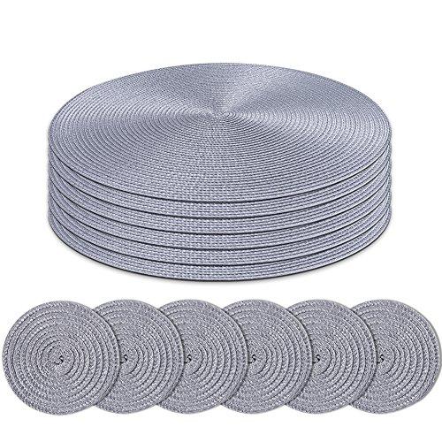 Homcomodar Round Table Tischsets und Untersetzer 6er-Set(Grau)