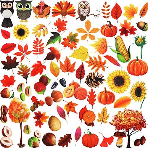 207 Stücke Thanksgiving Fenster Dekorationen Ahornblätter Fenster Aufkleber Herbstblätter Fensterbilder für Thanksgiving Herbst Party Zubehör, 12 Blatt