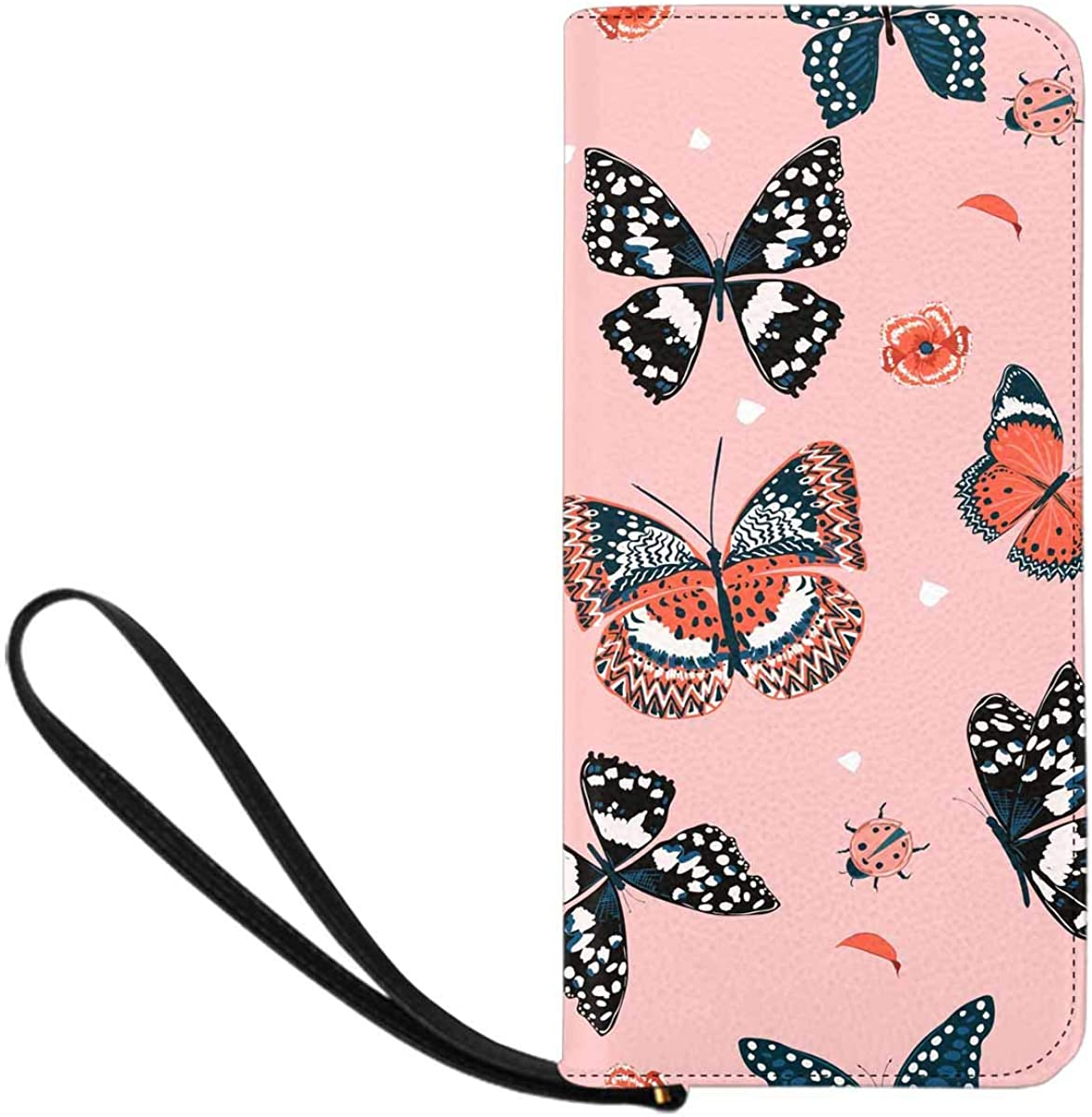 INTERESTPRINT Butterflies Flying in the Garden Wristlet Clutch Large Travel Purse Wristlet