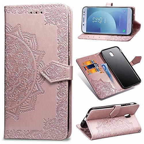 Ycloud PU Pelle Custodia per Samsung Galaxy J3 2017 J330 Flip Portafoglio Cover con Stand Funzione Carta Slot Disegno Mandala Goffratura Rose Gold Case per Samsung Galaxy J3 PRO