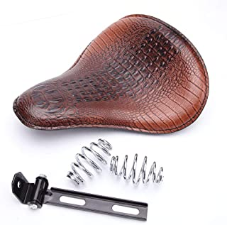Brown Motorcycle Crocodile Leather Cushion Spring Solo Seat For Honda Rebel 250 300 500 Refit Bobber (Brown- Crocodile)