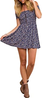 Women's Vintage Off Shoulder High Waist Floral Print Beach Mini Dress