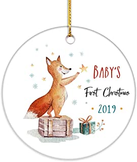 VILIGHT Baby's First Christmas Ornament 2019 Newborns Xmas Gifts - Baby Fox 2.75 Inch Flat Circle Ceramic Decor with Tag & Gold Ribbon