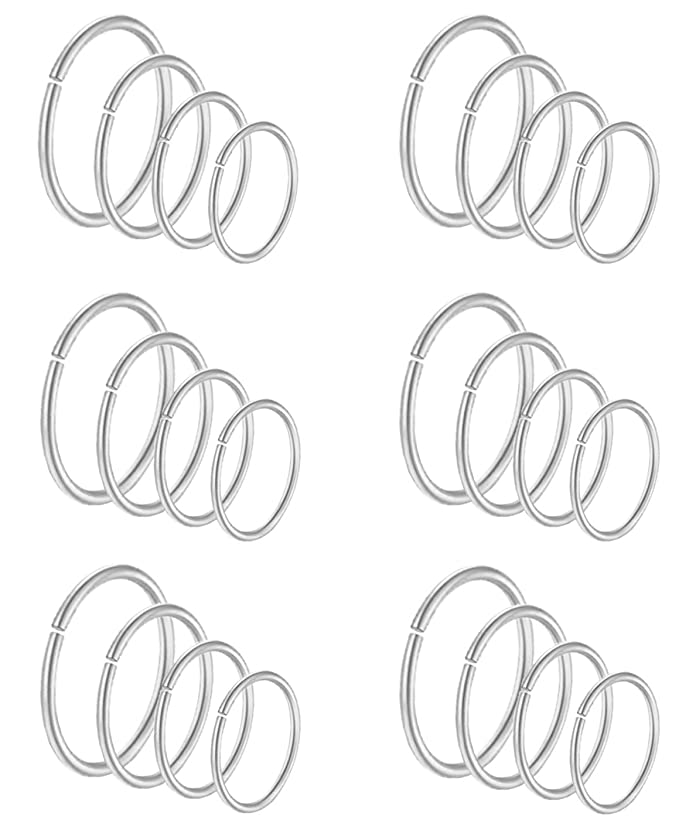 Masedy 24Pcs 20G 316L Stainless Steel Nose Rings Hoop Tragus Cartilage Helix Piercing Lip Septum Ring 6-12MM Bendable