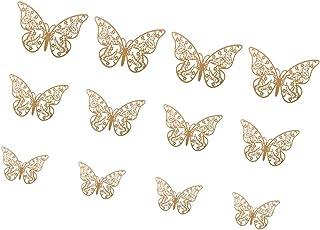 SM SunniMix 12 Piezas 3D Pegatinas Decorativas Sticker para Parede Forma de Mariposa Oro Adornos para Dormitorio de Bebé