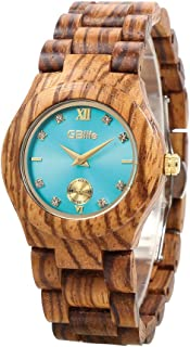 Wooden Watch Women, GBlife Casual Lightweight Turquoise Dial Natural Handmade Wood Watch with Adjustable Wood Watch Band, Fashion Quartz Wooden Wristwatch