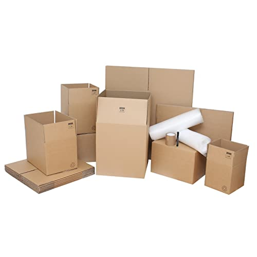 """Removal Boxes Pack – 25 Strong Lightning Branded Double Wall Cardboard Boxes & Packing Supplies Perfect For 2-Bed or Small House Move. Top Quality Moving Kit - Contains 5 x Large Removal Boxes 18""""x18""""x20"""", 10 x Standard Moving House Boxes 18""""x12""""x12"""", 5 x Small Moving Packing Boxes 12""""x12""""x12"""" & 5 x Book Cardboard Boxes measuring 10""""x10""""x10"""". Also Includes 15m Bubble Wrap, 2 Free Rolls Of Packing Tape & 1 Free Marker Pen For Labelling. Economical House Removal Packing Kit"""
