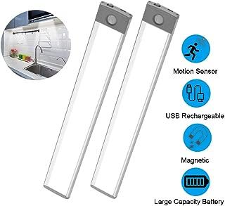 Led Closet Lights, Wireless Motion Sensor Under Cabinet Lighting USB Rechargeable Wardrobe Light for Kitchen Cabinet, Cupboard, Pantry, Closet, Wardrobe, Laundry Room (2 Pack)