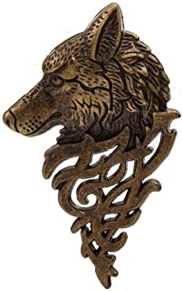 Men Vintage Style Nordic Wolf Head Metal Lapel Pins Brooch Collar Hat OK 03 Daily Popular Fashion Jewerly Women Accesories Styling Delicate | Colors - Brown