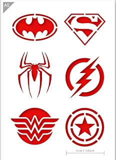 Super Hero Emblem Logos Stencil - Card or Plastic - A5 5.8 x 8.3 inch – Icon diameter 1.9 inch - Reusable, kids friendly stencil - Painting, crafts, cakes, wall and furniture stencil (Plastic)