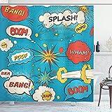 lovedomi Superheld Duschvorhang Pop Art Stil Comic Sprechblasen Lustige Humor Ausdrücke Boom Splash Bang Tuch Stoff Badezimmer Dekor Set mit Haken 69X70 Zoll Creme Blau