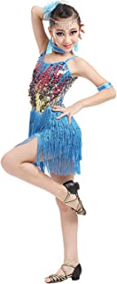 Kid Girls Sequins Tassel Dance Dress Latin Salsa Ballroom Dancewear