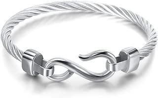 Titanium Stainless Steel Vintage Signature Twisted Cable Bracelet Bangle