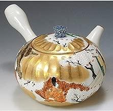 Kiyomizu-kyo yaki ware. Japanese Kyusu teapot story of genji with paper box. Porcelain. kymz-DIY159