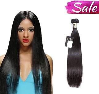 Puddinghair 10'' Brazilian Straight Hair Bundle, 100% Unprocessed Virgin Human Hair (Soft& Silky, 100g, Natural Black Color) Straight Human Hair Weave 1 Bundle
