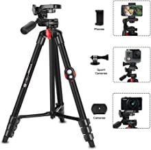 Phone Tripod, ZOMEi 53 Inch Cellpone Tripod Lightweight Portable Travel Tripod with Phone Holder and Bluetooth Remote for Smartphone Gopro and Light Camera