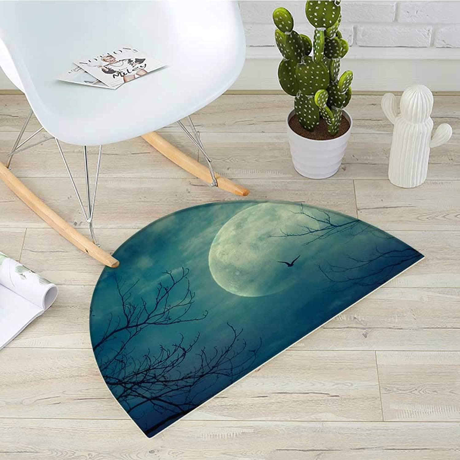 Horror House Semicircular CushionHalloween with Full Moon in Sky and Dead Tree Branches Evil Haunted Forest Print Entry Door Mat H 39.3  xD 59  bluee