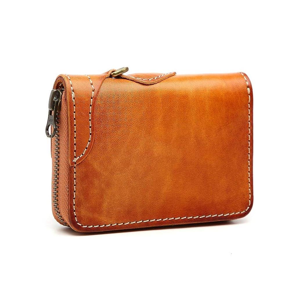 注意切り離す無線財布 コンパクト 小銭入れ カードケース 栃木レザー 牛革 レザー メンズ財布ウォレット 手縫い手染め男女兼用 プレゼント 2色