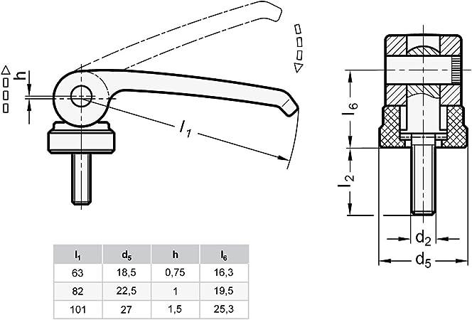 Ganter Normelemente 927-82-M8-60-A-B Hebel Zink-Druckguss Exzenterspanner mit Schraube Gewinde d2: M8 1 St/ück Griffl/änge l1:  82mm schwarz