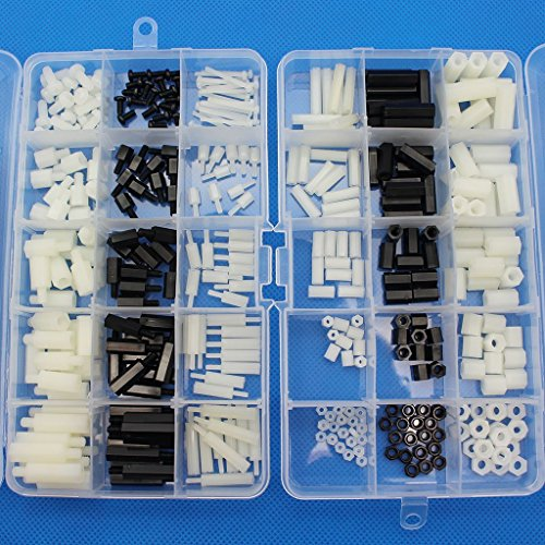 Raogoodcx, kit assortito da 360 pezzi di distanziali esagonali, viti, dadi, maschio/femmina in nylon, M2 M3 M4