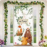 Woodland Baby Shower Party Decorations Woodland Animals Door Cover Backdrop Jungle Animal Theme Party Banner Photo Booth Woodland Backdrop Background Birthday Party Decoration for Kids, 78 x 35.4 Inch