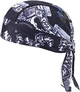 ITODA Quick Dry Skull Head Cap Chemo Chef Cooking Beanie Headwear Breathable Pirate Wrap Sun UV Protection Sweat Wicking Turban Motorcycle Running Working Sport Hat