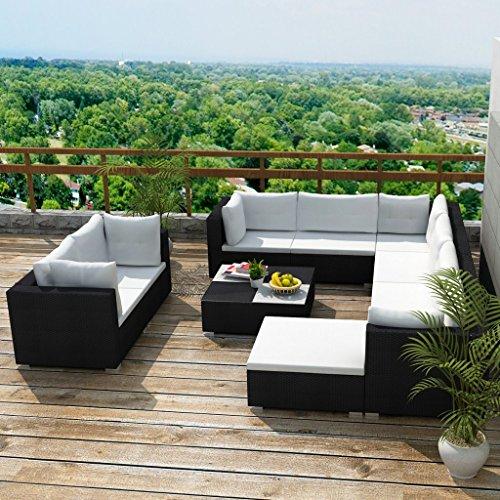 Festnight 32-TLG. Gartensofa Set mit 1 Teetisch Gartenlounge Garten Lounge-Set aus Polyrattan Loungegruppe Sitzgruppe für Terrasse Garten - Schwarz - 2