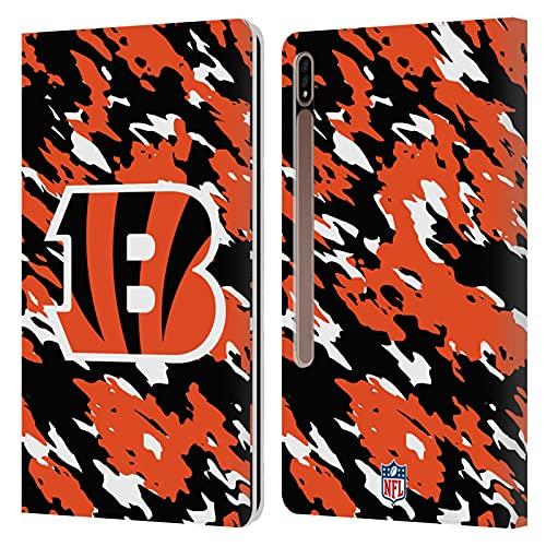 Head Case Designs Oficial NFL Camou Logo de Cincinnati Bengals Carcasa de Cuero Tipo Libro Compatible con Galaxy Tab S7+ / Tab S7 Plus 5G