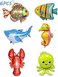 6 Pieces Ocean Animals Balloons Large Animal Balloons Cartoon Fish Balloons Foil Balloons for Kids Birthday Party Decoration Supplies