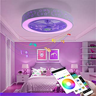 Invisible Luz Del Ventilador,APP Mando A Distancia,RGB Cambio Color, Lámpara De Techo Regulable Plafón LED Con Altavoz Bluetooth Montaje Luz Estrellada Pantalla Para Niños Fan Sala 84W D58cm