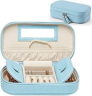 Vlando Small Jewellery Box Organiser for Necklaces Earrings Rings - Woman Girls Tassel Zipped Jewelry Case, Blue