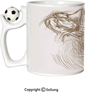 Jazz Music Decor Sports Football Mug,Vintage Style Sketch Image of a Jazz Man Playing the Blues on Saxophone with Shades Ceramic Coffee Cup,Brown White,Great Novelty Gift for Kids & Audlt