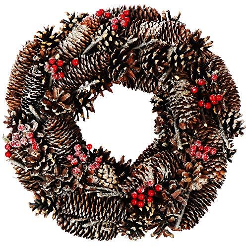 com-four® Tischkranz für Weihnachten - Adventskranz mit Zapfen, roten Beeren und Glitzer - Dekokranz - Weihnachtsdeko - Türkranz - Weihnachtskranz - Ø 33 cm