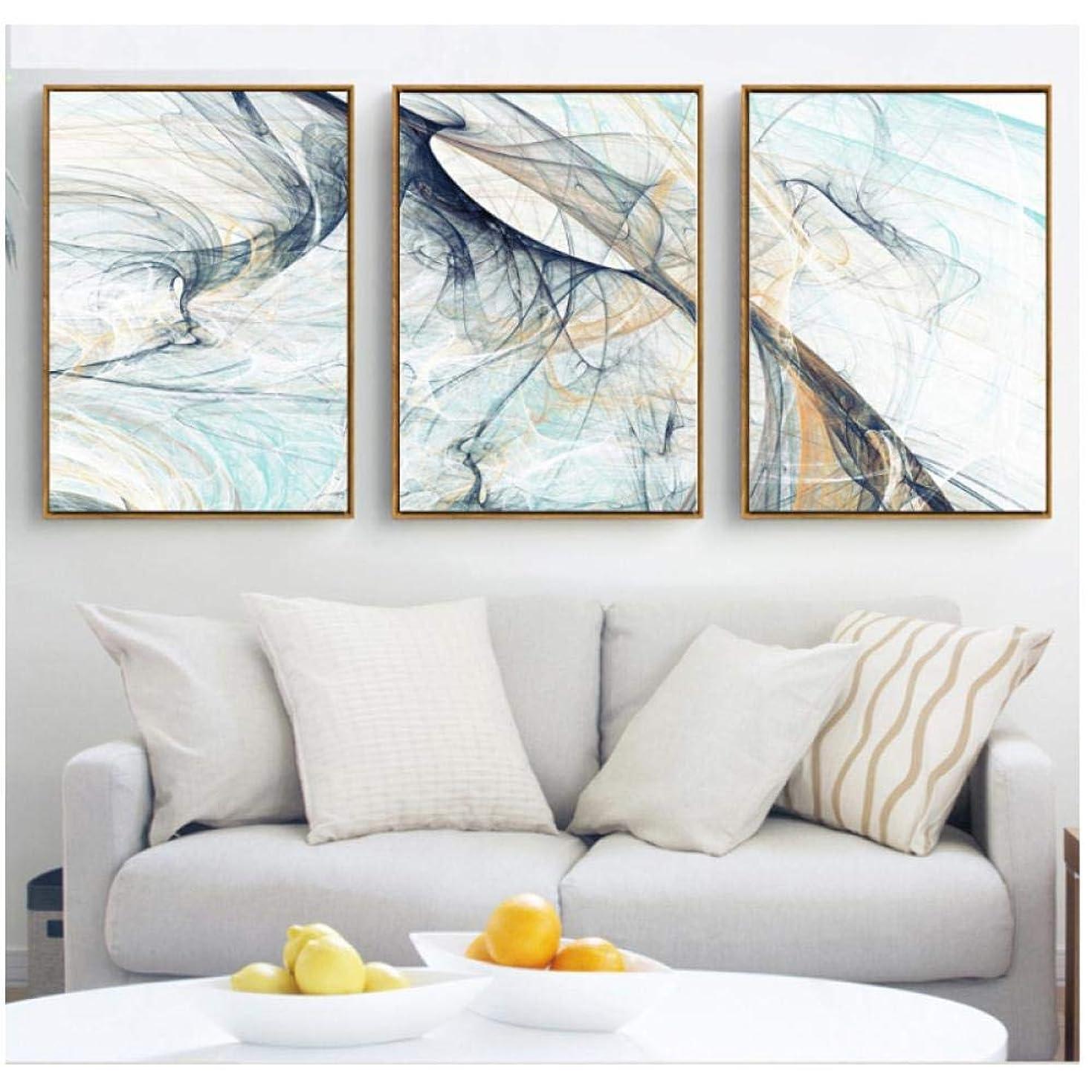 局インテリアコンプリートキャンバスアートプリント北欧の抽象的な幾何学模様の装飾的な絵画の写真のキャンバスの絵画(3個42x60cmフレームなし)