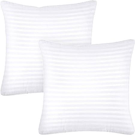 Utopia Bedding Premium Oreillers (Lot de 2) - 65 x 65 cm Oreillers Rectangulaires avec Fermeture Éclair - Tissu en Coton Mélangé avec Garnissage 3D Fibre Polyester - Respirant et Doux (Blanc)