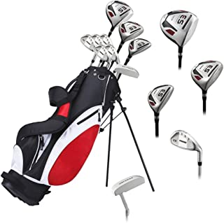 Precise ES Mens Complete Right Handed Golf Clubs Set Includes Titanium Driver, S.S. Fairway, S.S. Hybrid, S.S. 6-PW Irons, Putter, Stand Bag, 3 H/C's - Choose Size! (Tall Size +1