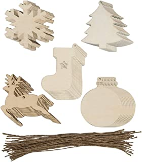 50 Pack Wooden Christmas Ornaments,DanziX Cutouts Hanging Ornaments with Holes,Deer,Ball,Christmas Tree,Snowflake,Christmas Stocking for DIY Crafts Decoration,Christmas Tree Ornaments,Wedding