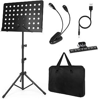 lotmusic – Pupitre de musique robuste en métal, hauteur réglable, pliant, avec sac de transport, lumière LED, porte-papier
